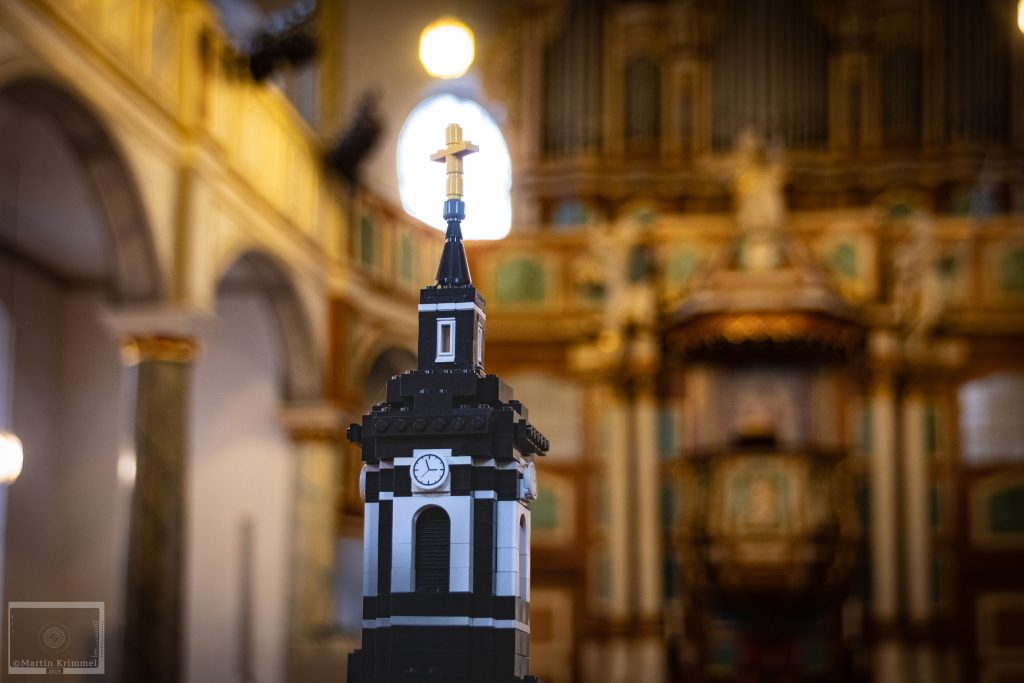 Lego church spire in historic church